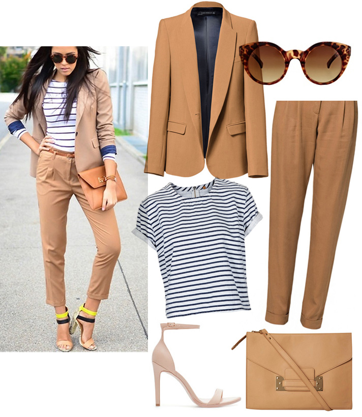 Get The Look by style blogger AnnRobieFashion: beige suit with stripped top