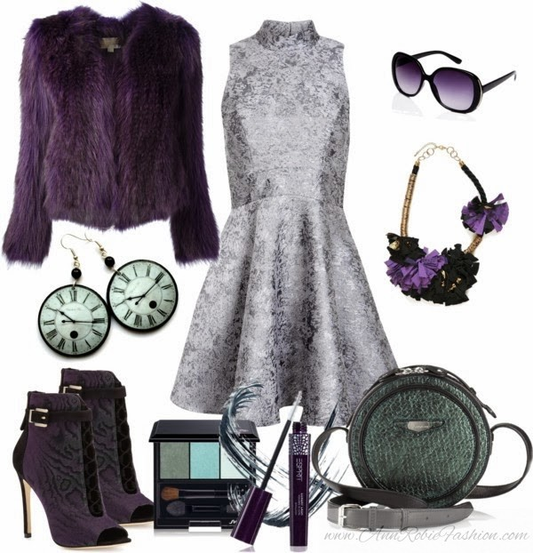 Outfit of the day: Icy Dress with Violet & Green Accessories