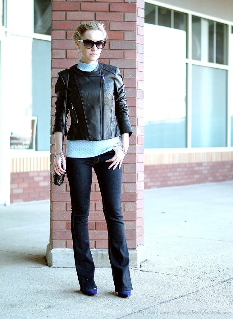 Ann Robie Fashion, blogger style: blue quilted top, jeans, black leather jacket, sky blue earrings