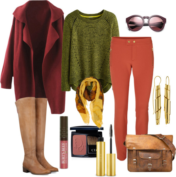 How to combine Marsala color: green chunky sweater, burgundy oversized coat, marsala pants, brown knee high boots, brown bag