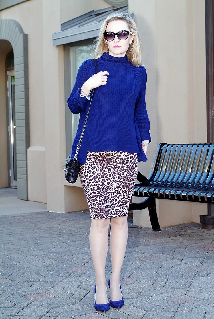Elie-Tahari-navy-blue-sweater-with-suede-navy-blue-Jessica-Simpson-heels-and-leopard-print-pencil-skirt,-urban-chic-7