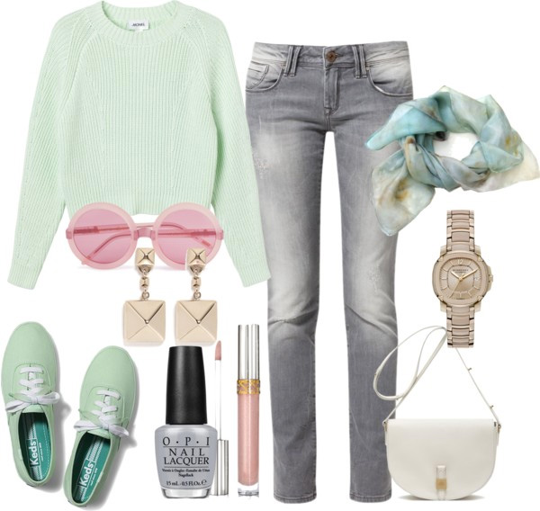 How to put together: mint chunky sweater, grey skinny jeans, mint keds, pink round sunglasses, silk scarf