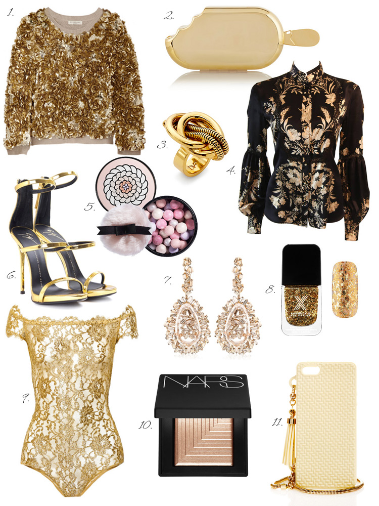 Oscar Inspiration by AnnRobieFashion: golden treasures - sweater, clutch, heels, earrings, ring, nail polish