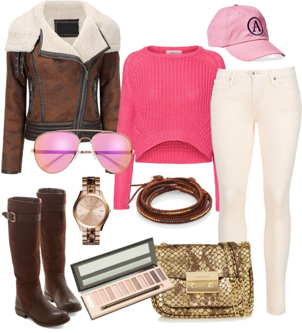 Super Bowl Style Ideas by Ann Robie Fashion: brown biker jacket, pink chunky sweater, knee high brown leather boots