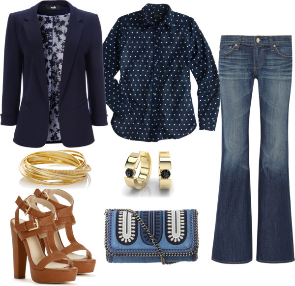 How to style flared jeans by AnnRobieFashion: flared jeans, navy blue polka dot shirt, navy blue jacket, brown platform sandals