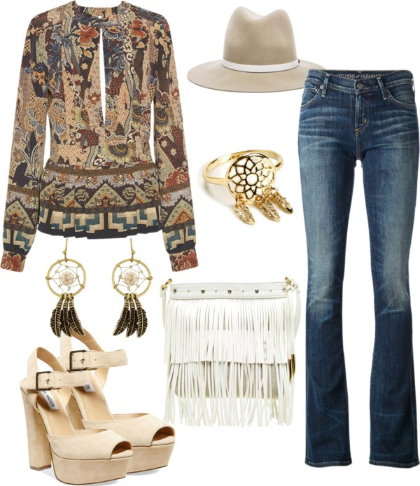How to style flared jeans by AnnRobieFashion: flared jeans, ETRO shirt, platform sandals, white leather fringe crossbody bag, hat