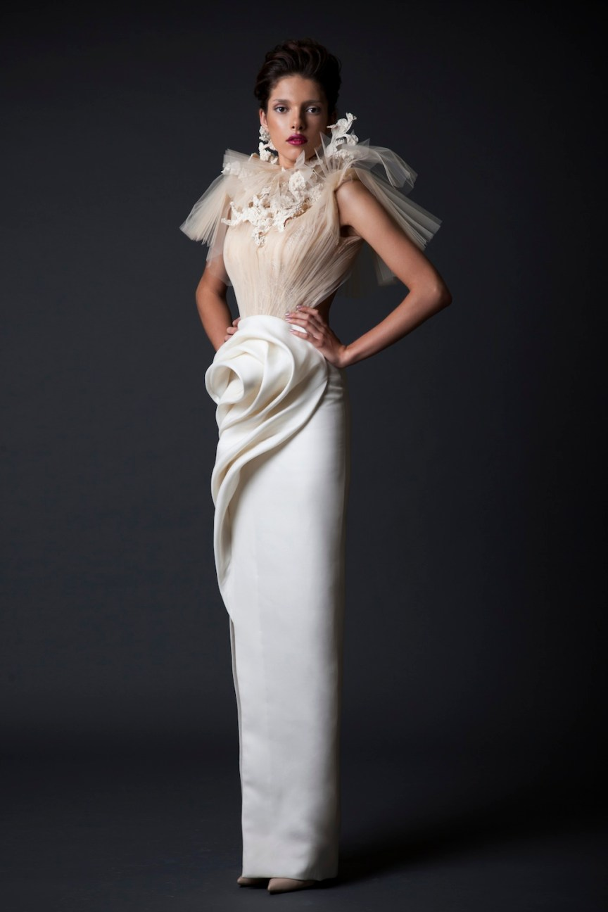 krikor Jabotian white maxi dress fw 14/15