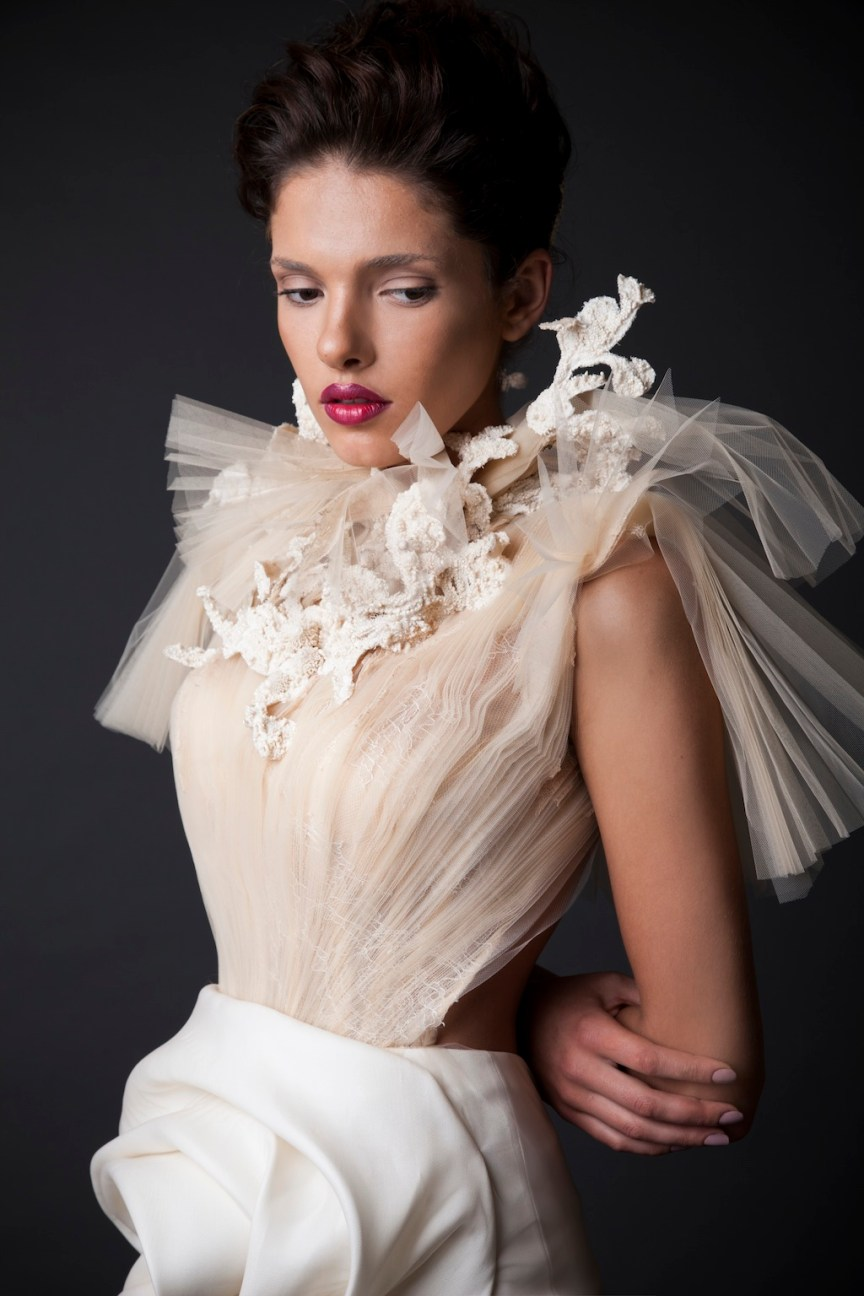 krikor Jabotian fw 14/15 details of white maxi dress