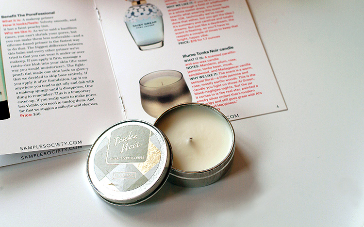 Allure Sample Society beauty box reviews by style blogger AnnRobieFashion: Illume Tonka Noir Candle