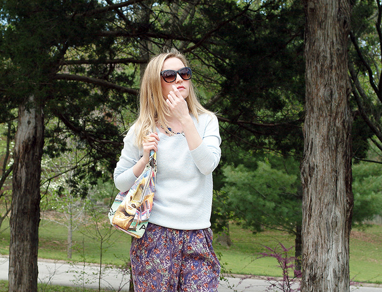 Spring Style by fashion blogger AnnRobieFashion: BCBG pants, baby blue Ann Taylor sweater, tan flats