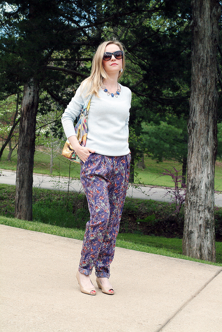Street Style by style blogger AnnRobieFashion: BCBG pants, baby blue Ann Taylor sweater, tan flats