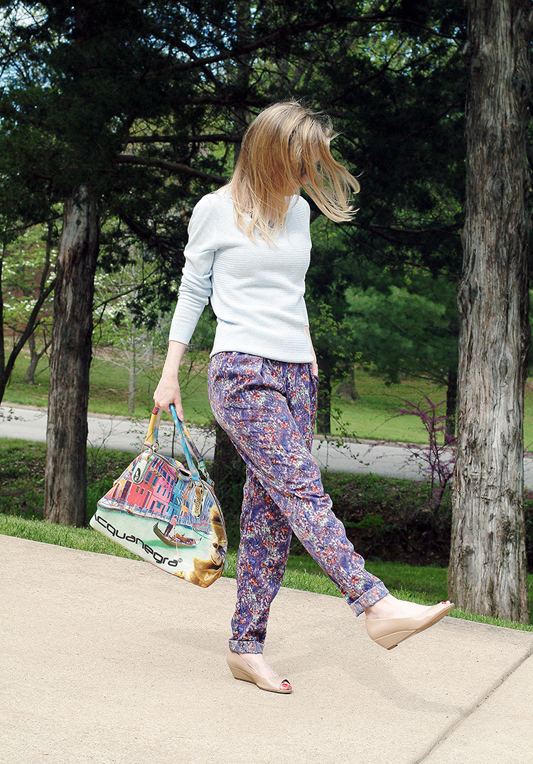 Colors of Spring by fashion blogger AnnRobieFashion: BCBG pants, baby blue Ann Taylor sweater, tan flats