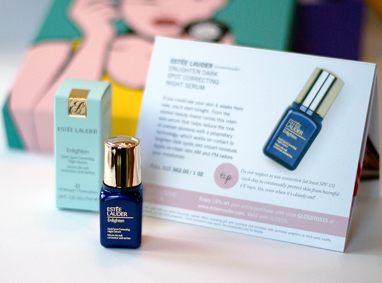 Glossybox April 2015 review by AnnRobieFashion: Estee Lauder Enlighten dark spot correcting night serum