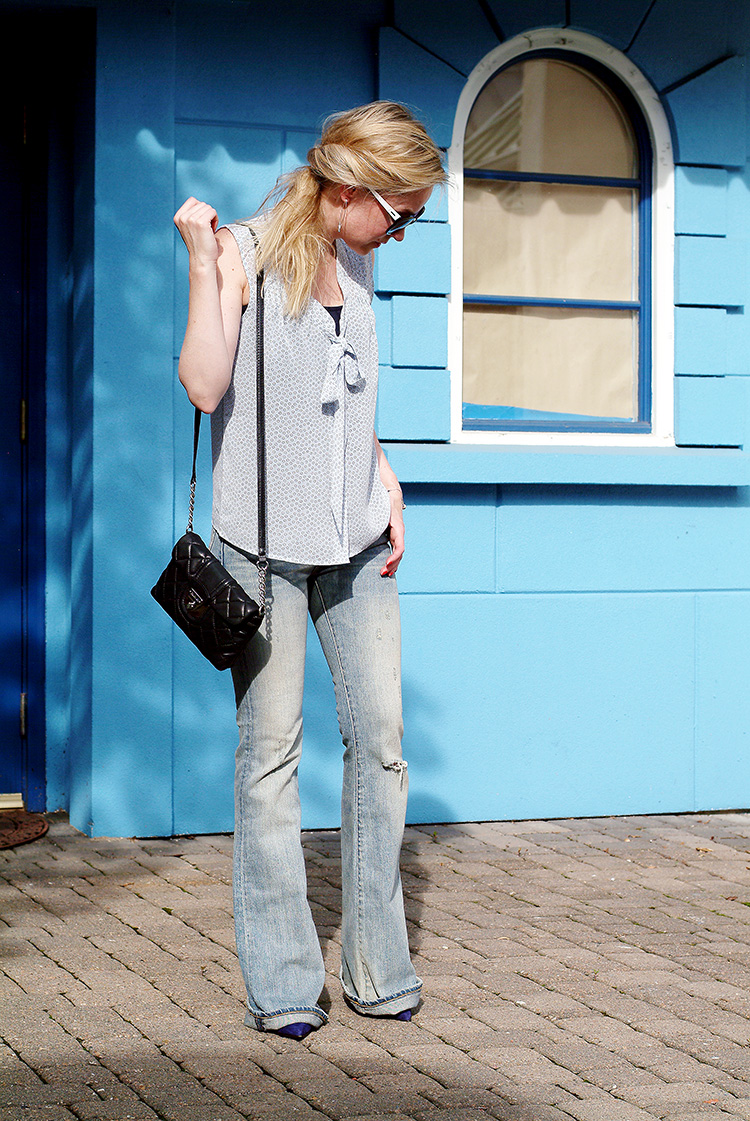 Street style by style blogger AnnRobieFashion: Blue Silk Sleeveless Top by Loft, Flared Jeans by Ralph Lauren