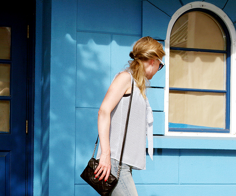 Baby Blue Outfit by style blogger AnnRobieFashion: Blue Silk Sleeveless Top by Loft, Flared Jeans by Ralph Lauren