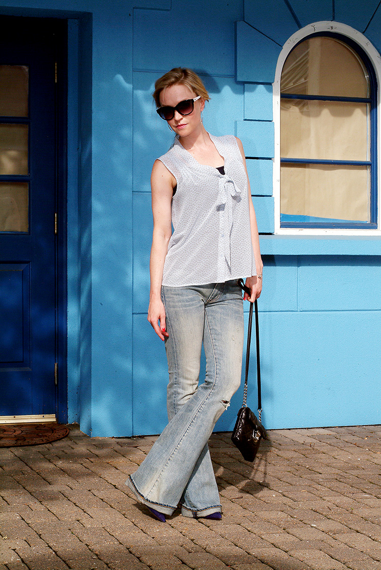 Flared Jeans for Petites by style blogger AnnRobieFashion: Blue Silk Sleeveless Top by Loft, Flared Jeans by Ralph Lauren