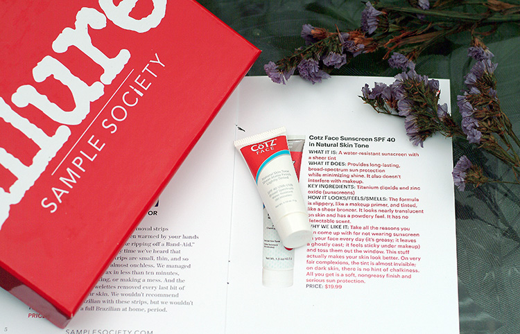 Allure June 2015, review by style blogger AnnRobieFashion: Cotz Face Sunscreen SPF 40