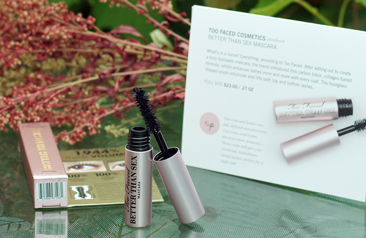 Glossybox June reviews by style blogger Ann from AnnRobieFashion.com; Better Than Sex Mascara,  Too Faced Cosmetics