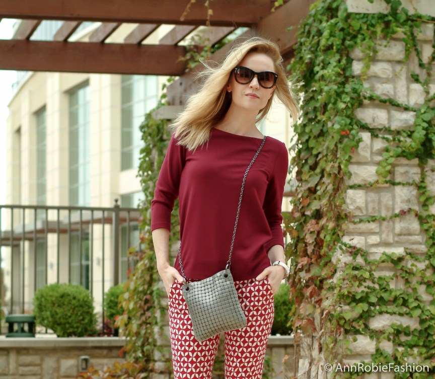 City Chic by petite style blogger AnnRobieFashion: burgundy top Ann Taylor, red and white printed pants LOFT, platform sandals Jessica Simpson