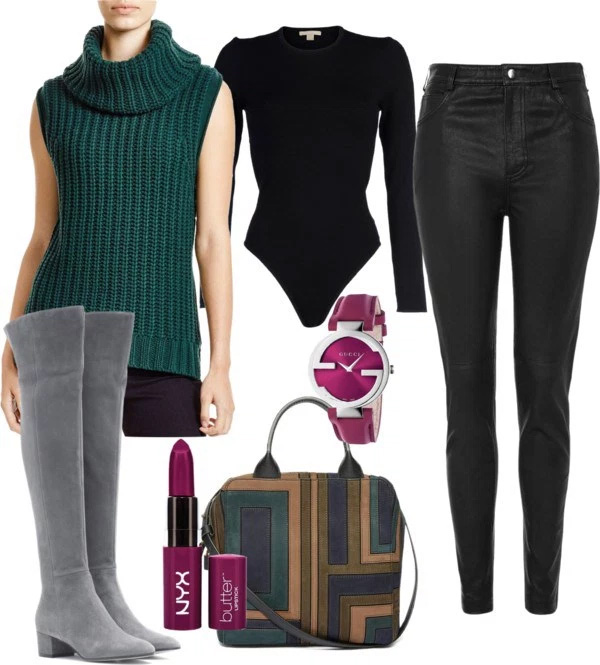 How to wear green sleeveless turtleneck sweater - outfit idea by petite style blogger AnnRobieFashion