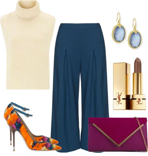 What-To-Wear-With-Orange Pumps: beige turtleneck sleeveless top, teal culottes