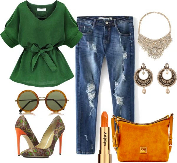 What To Wear With Orange Pumps: dark green blouse, boyfriend jeans, orange suede bag