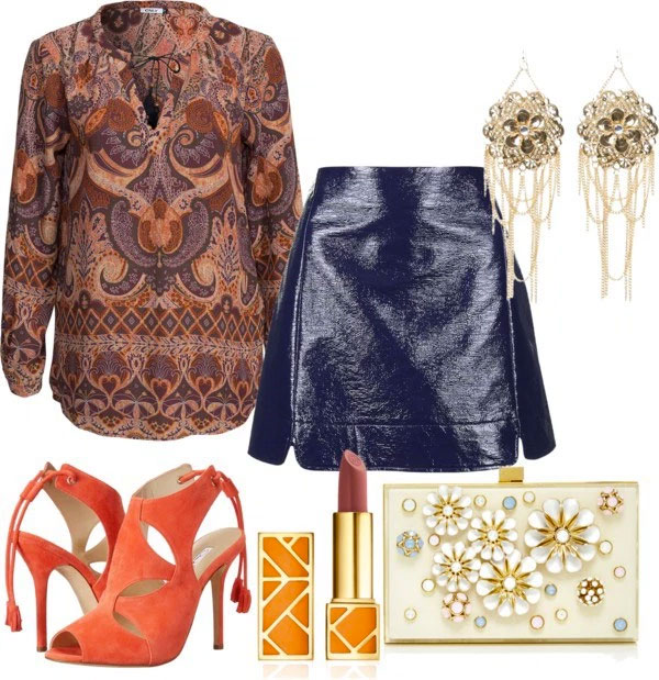 What To Wear With Orange Pumps: navy blue leather skirt, blouse with oriental print