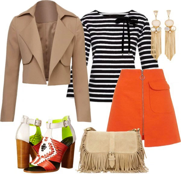 What To Wear With Orange Pumps: black and white stripped top, orange skirt