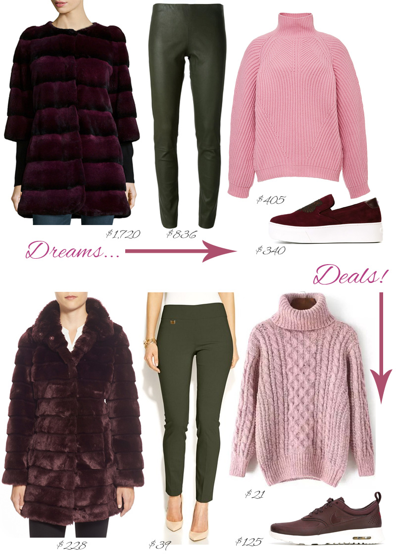 Big dreams, Real deals - affortable fashion by petite style blogger AnnRobieFashion: Dark pink fur coat, green pants, dusty rose chunky sweater, dark pink sneakers