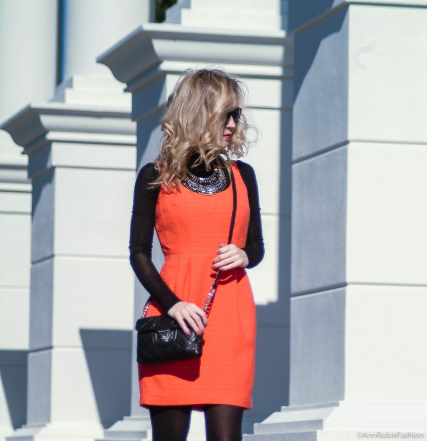 Fall Fashion: orange sleeveless dress, black turtleneck sweater, suede heels - petite street style by fashion blogger AnnRobieFashion