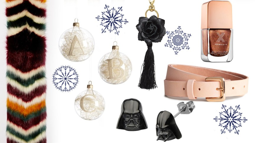 Christmas gift ideas under $50 dollars by style blogger AnnRobieFashion - Blue fedora hat, multi color faux fur scarf, Darth Vader stud earrings