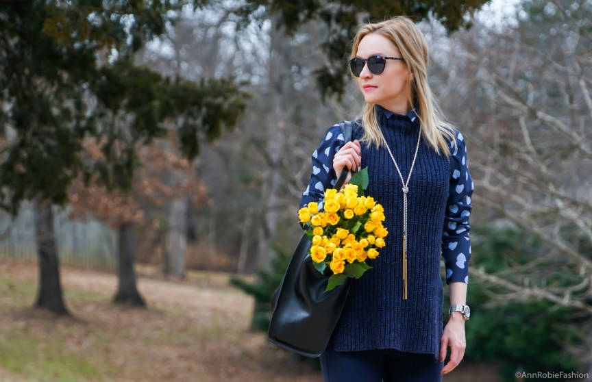 Navy-blue-heart-print-shirt-AnnTaylor,-blue-chunky-sleeveless-sweater-Ann-Taylor,-skinny-pants-LOFT,-ankle-boots-Vince-Camuto---outfit-by-petite-style-blogger-AnnRobieFashion-8w