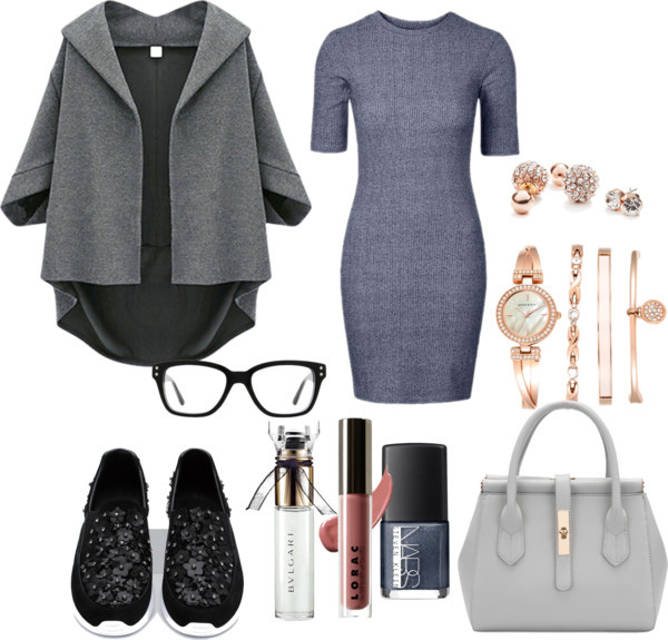 What to wear with the sneakers grey bodycon dress, grey oversized coat, Zara leather sneakers with floral details - outfit by style blogger AnnRobieFashion