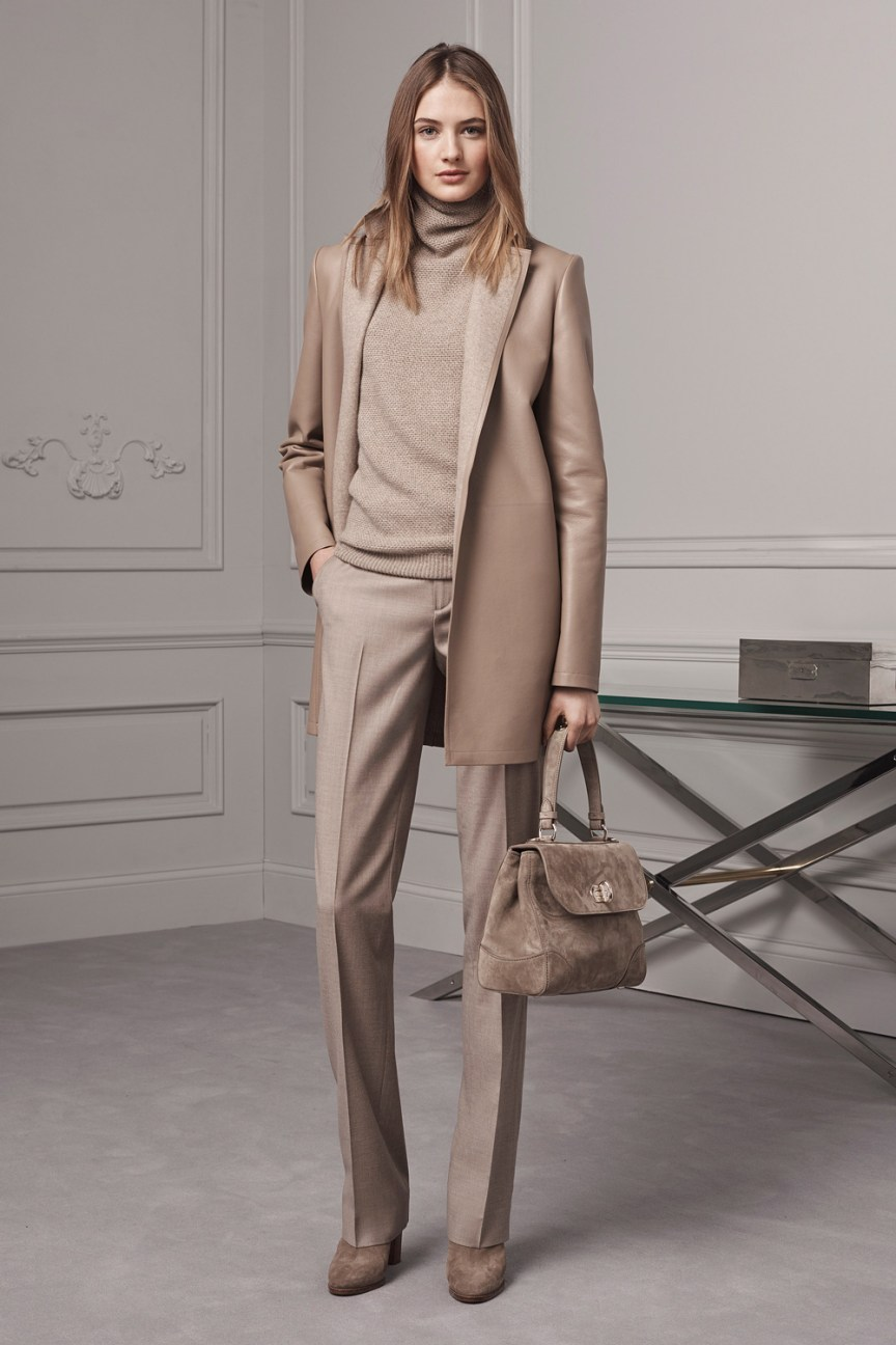 Ralph Lauren Pre-Fall 2016 Lookbook; pastel, beige pants, beige turtleneck sweater, sand beige coat