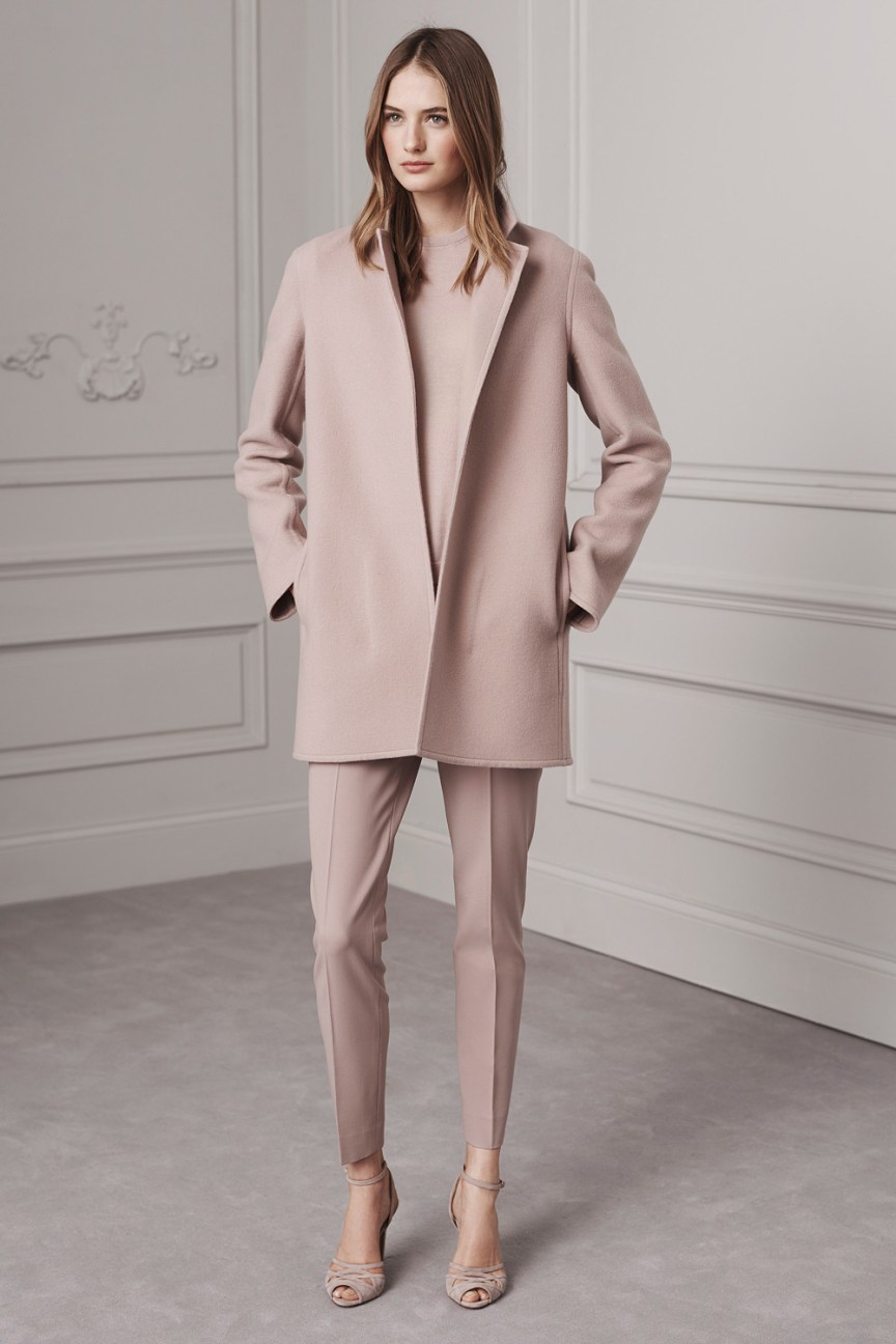 Ralph Lauren Pre-Fall 2016 Lookbook; pastel pink, pale pink pants, pants, pale pink sweatshirt, pale pink coat