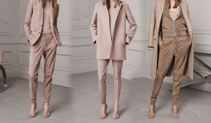 Ralph Lauren Pre-Fall 2016 Lookbook; pastel, beige pants, beige turtleneck sweater, sand beige leather coat
