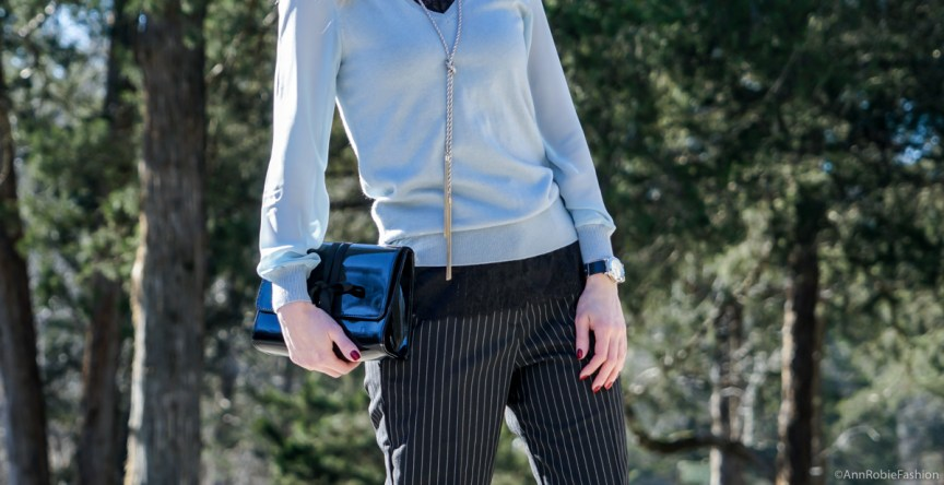 Blue sweater with the sheer sleeves Ann Taylor, striped pants Asos, leather ankle booties Vince Camuto - outfit by petite style blogger AnnRobieFashion