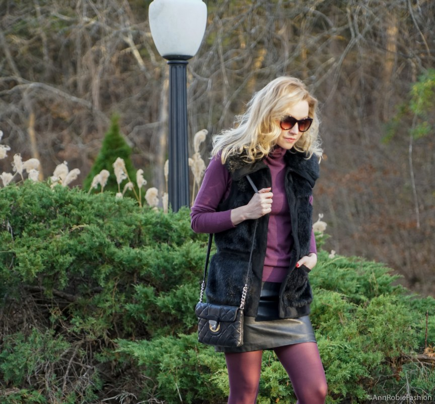 Winter casual chic: sleeveless faux fur vest Rachel Zoe, plum turtleneck Ann Taylor, black leather skirt Forever 21, Zara leather sneakers with floral details by petite style blogger AnnRobieFashion