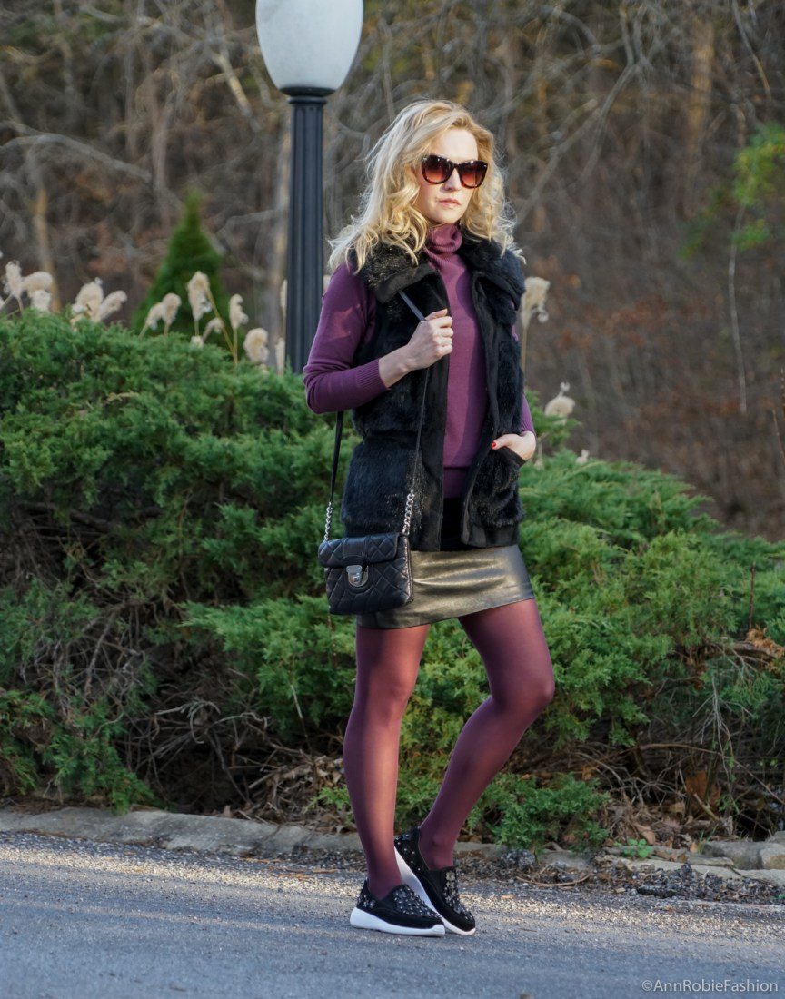 Petite style in winter: sleeveless faux fur vest Rachel Zoe, plum turtleneck Ann Taylor, black leather skirt Forever 21, Zara leather sneakers with floral details by petite style blogger AnnRobieFashion