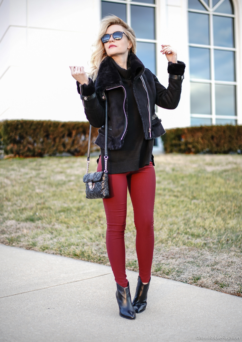 Black turtleneck sweater, skinny burgundy pants, faux fur jacket WHBM, ankle booties Vince Camuto - winter outfit idea by petite style blogger AnnRobieFashion