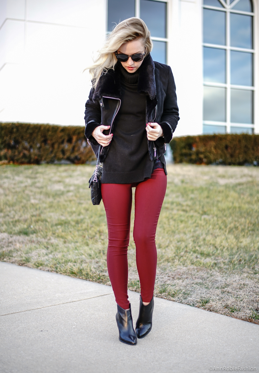 Black & burgundy: Black turtleneck sweater, skinny burgundy pants, faux fur jacket WHBM, ankle booties Vince Camuto - winter outfit idea by petite style blogger AnnRobieFashion