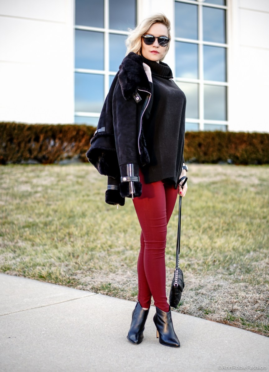 Petite style: Black turtleneck sweater, skinny burgundy pants, faux fur jacket WHBM, ankle booties Vince Camuto - winter outfit idea by petite style blogger AnnRobieFashion