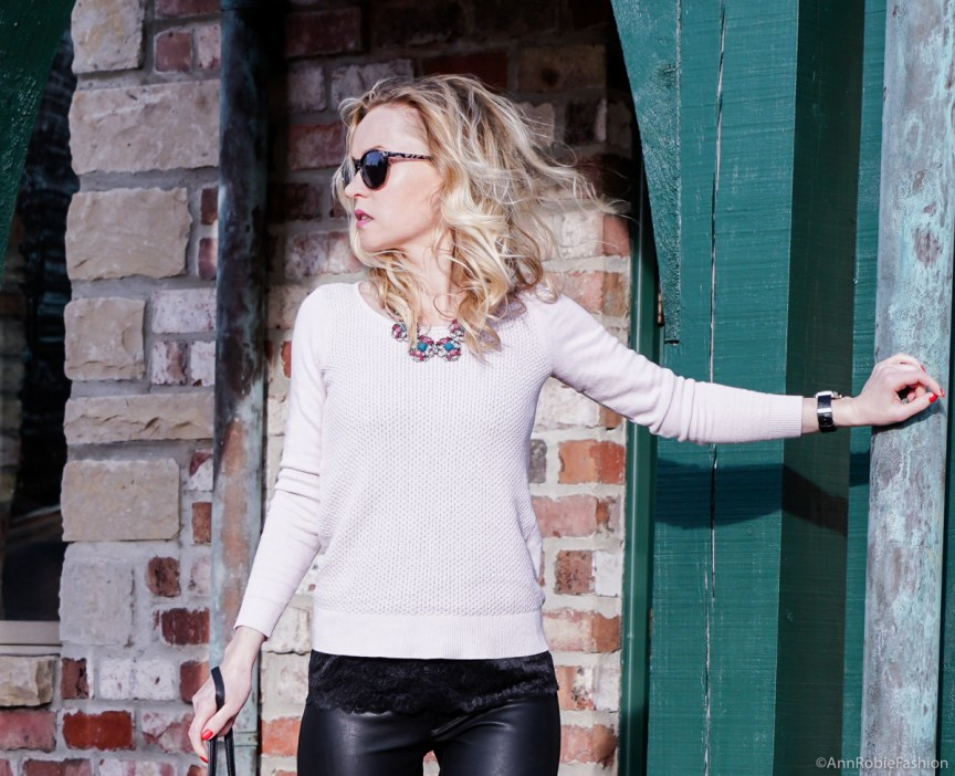 Spring colors: Pale pink sweater Ann Taylor, skinny leather pants Banana Republic - outfit by petite style blogger AnnRobieFashion