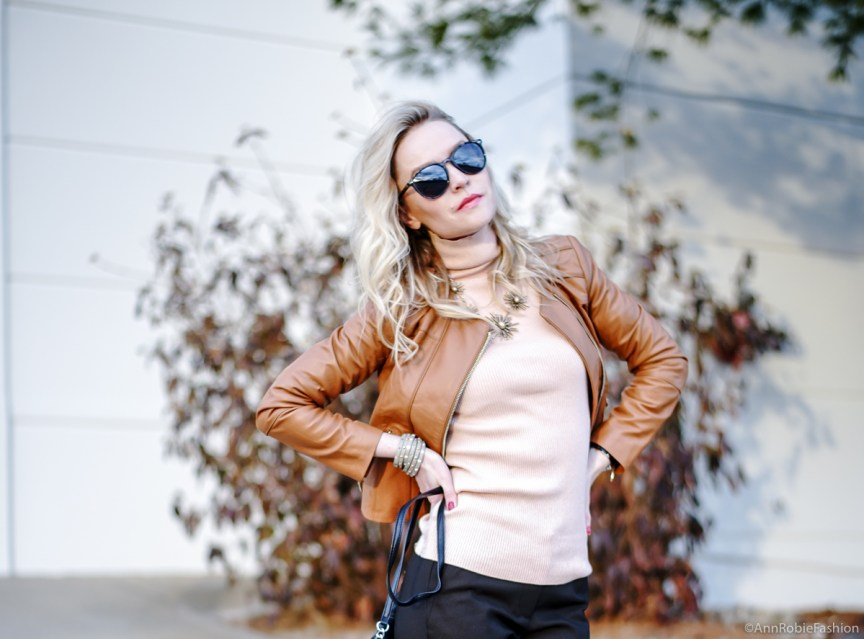 Peach turtleneck sweater LOFT, leather jacket WHBM in vachetta, brown pants Ann Taylor, heels Louise et Cie - outfit idea by petite style blogger AnnRobieFashion