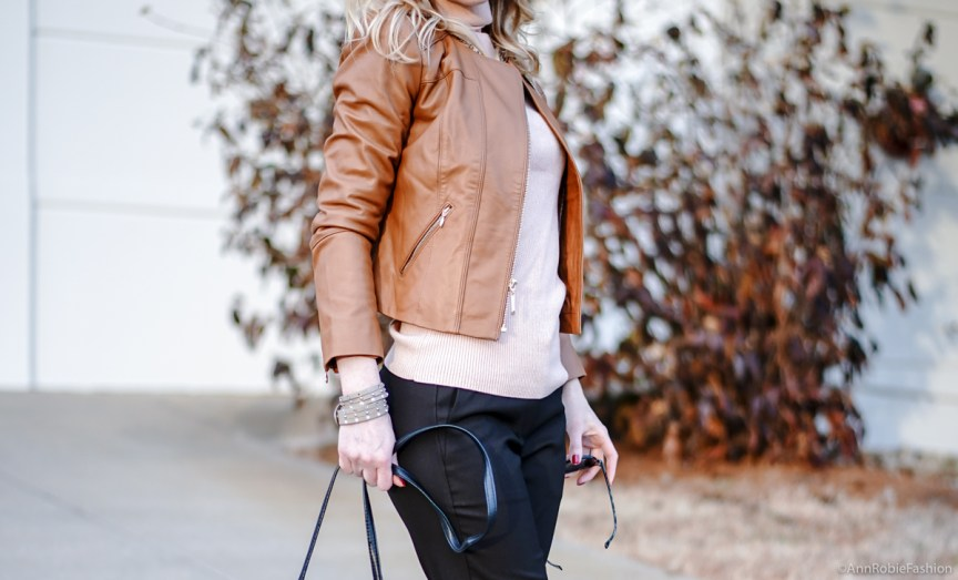 Beige palette: Peach turtleneck sweater LOFT, leather jacket WHBM in vachetta, brown pants Ann Taylor, heels Louise et Cie - outfit idea by petite style blogger AnnRobieFashion