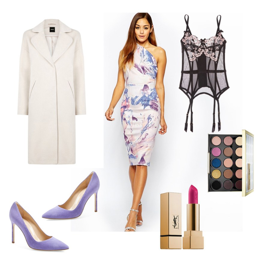Valentine's Day Outfit Ideas: Asos floral print lilac dress, lilac suede heels, pink lipstick, white coat Oasis
