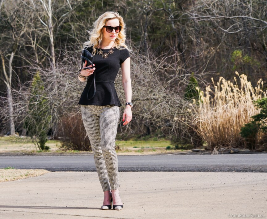 What to wear with ankle pants: Black short sleeve peplum top WHBM, beige ankle pants Banana Republic, heels Calvin Klein - classic outfit by petite style blogger AnnRobieFashion