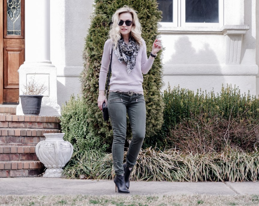 Pale pink sweater Ann Taylor, dry herb green jeans Pacsun, black leather ankle boots Vince Camuto, khaki scarf - casual outfit by petite style blogger AnnRobieFashion
