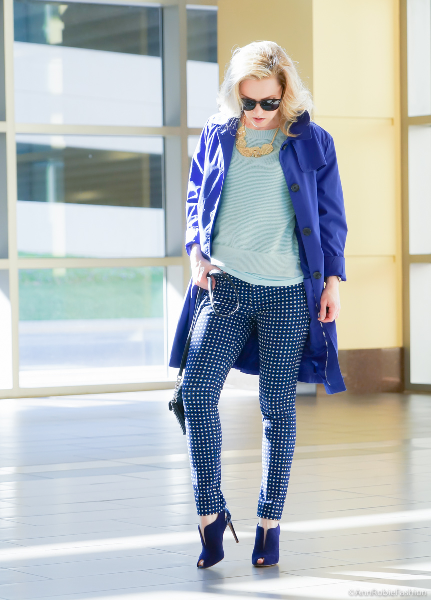 Blue ankle pants Banana Republic, turquoise sweater LOFT, blue raincoat Lands' End, gold leaf necklace Banana Republic, heels Elie Tahari - casual outfit by petite style blogger AnnRobieFashion