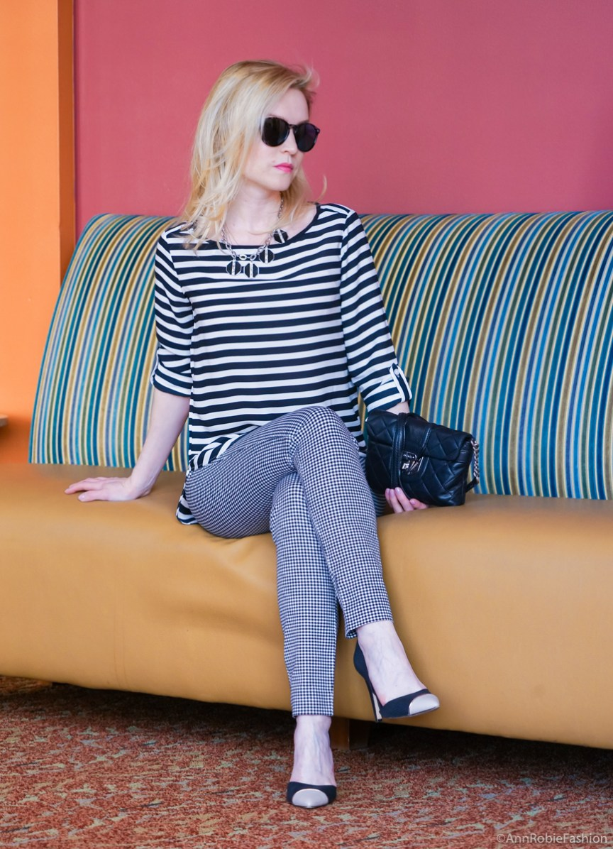 Gingham and stripes: Pixie ankle pants Old Navy, black and white striped pullover LOFT, heels Calvin Klein - casual outfit by petite style blogger AnnRobieFashion